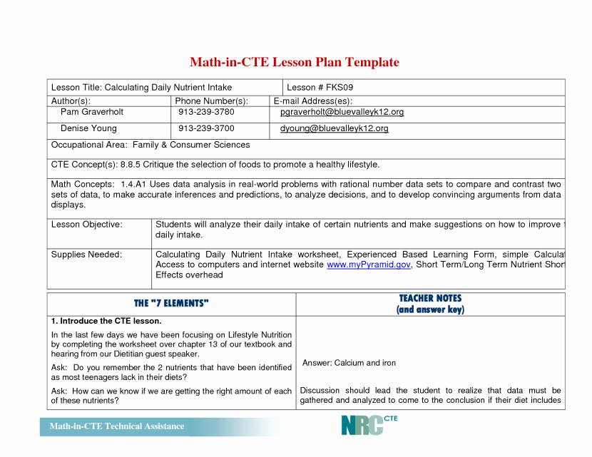 Math Lesson Plan Template Beautiful Elementary Math Lesson Plan Template Templates Data