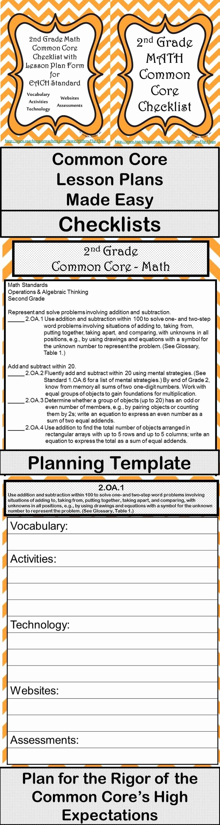 Math Lesson Plan Template Best Of 2nd Grade Math Mon Core Checklist Lesson Planning