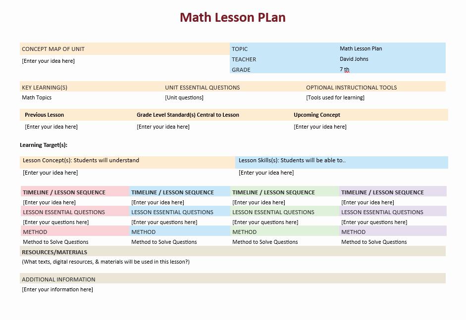 Math Lesson Plan Template Fresh Math Lesson Plan Template – Microsoft Word Templates