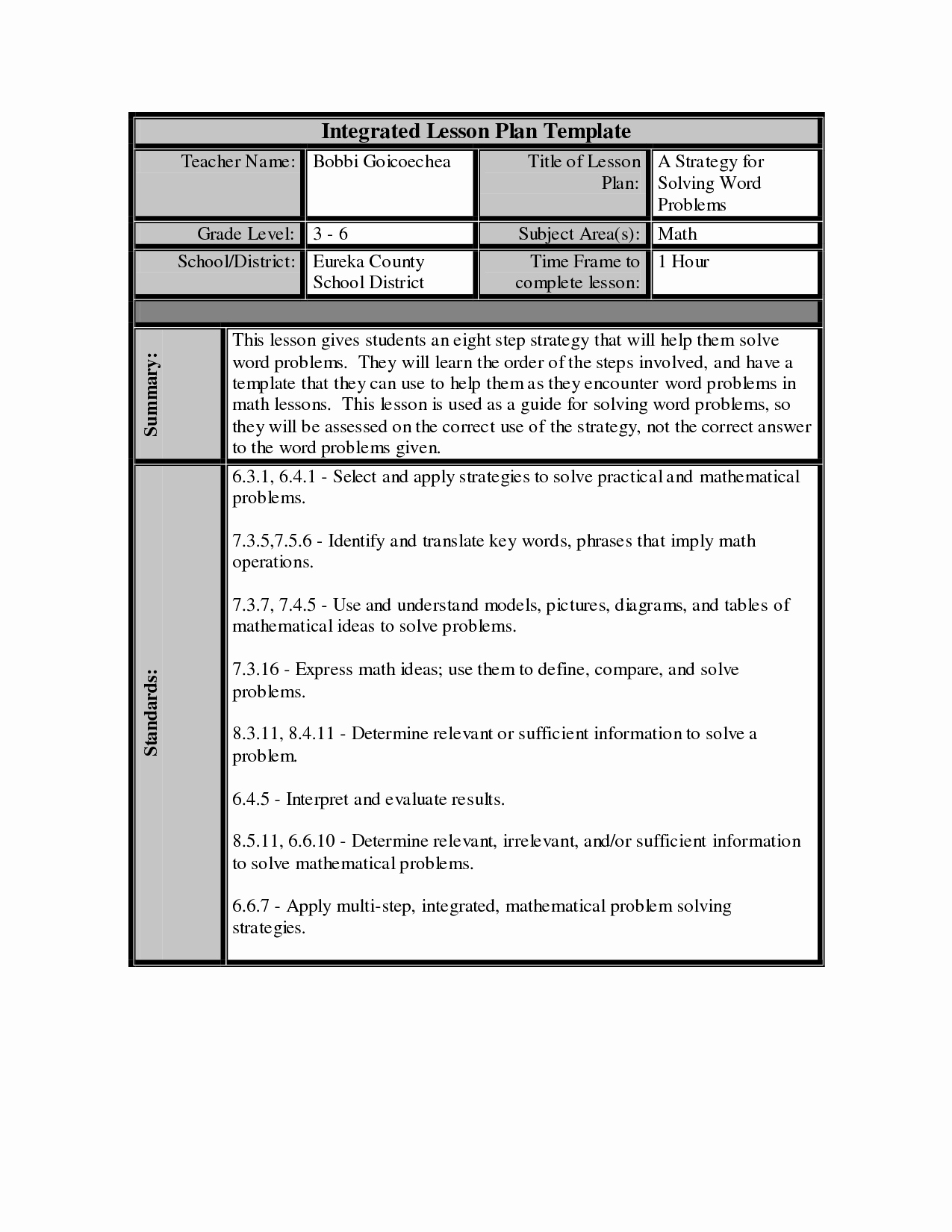Math Lesson Plan Template New Best S Of Math Lesson Plan Template Math Lesson