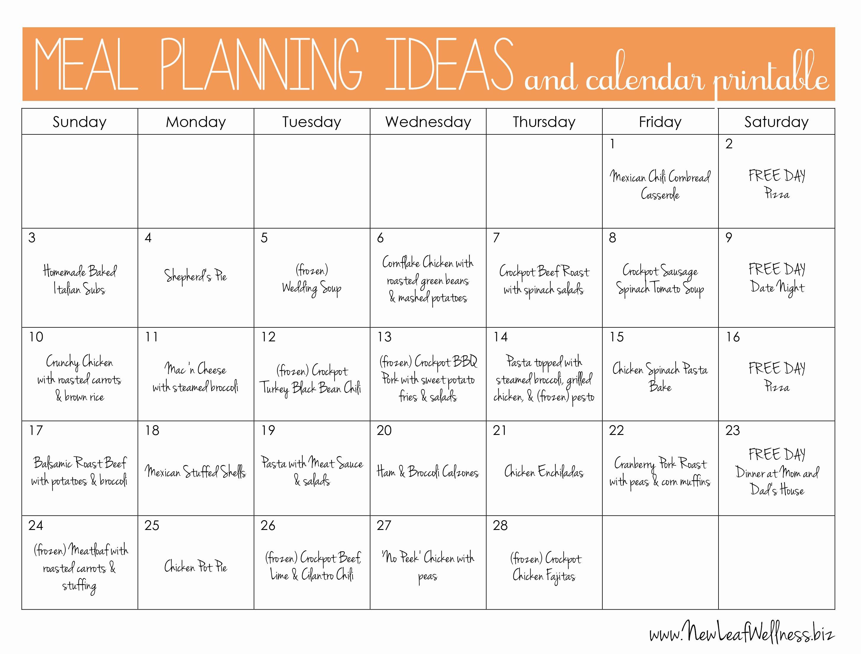 Meal Plan Calendar Template Beautiful Meal Plan Calendar