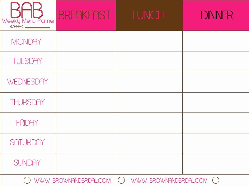 Meal Plan Calendar Template Beautiful Weekly Menu Template