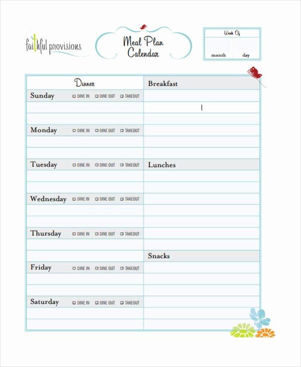 Meal Plan Calendar Template Best Of 10 Planning Calendar Templates Sample Example