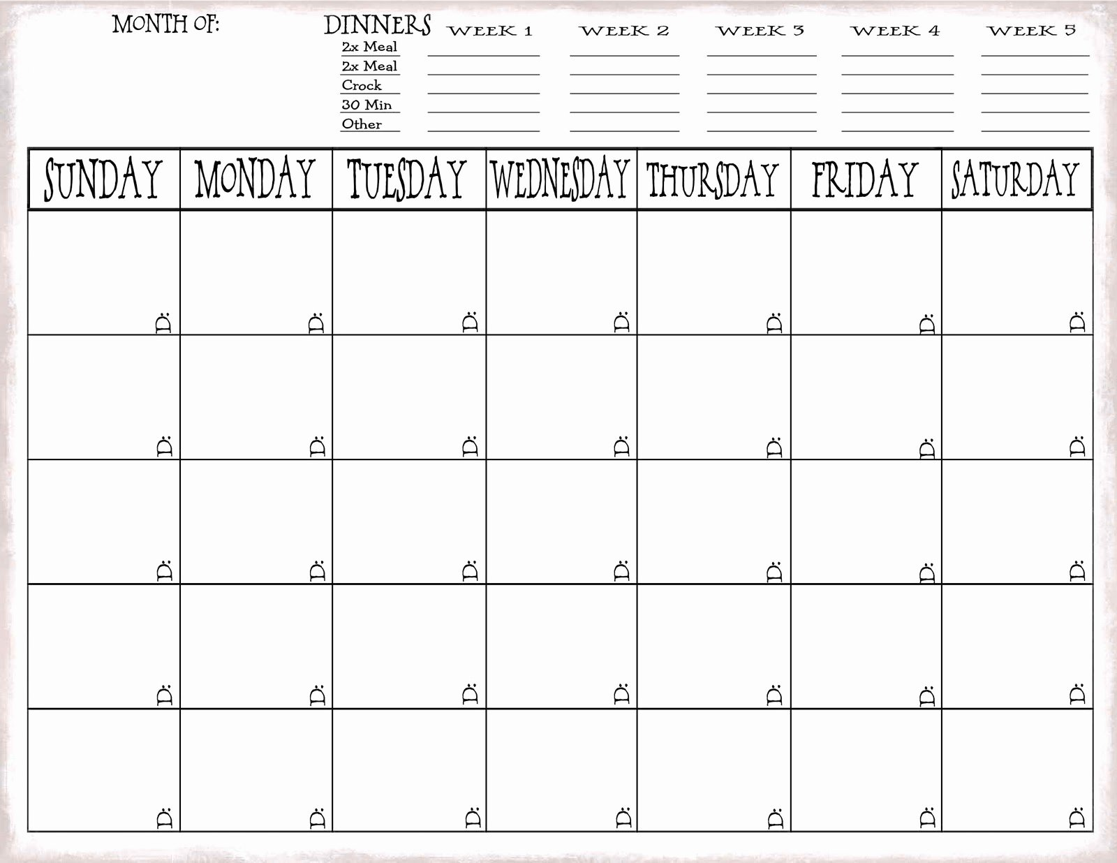 Meal Plan Calendar Template Luxury Just Sweet and Simple More On Meal Planning