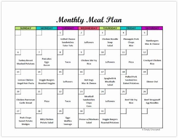 Meal Plan Calendar Template Unique Free Monthly Meal Planner Printable Calendar Template for