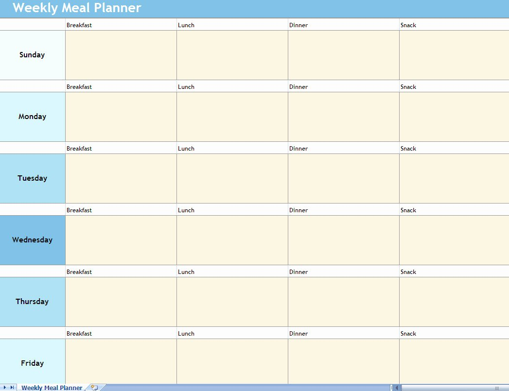 Meal Plan Template Excel Inspirational Weekly Meal Planner Excel Spreadsheet