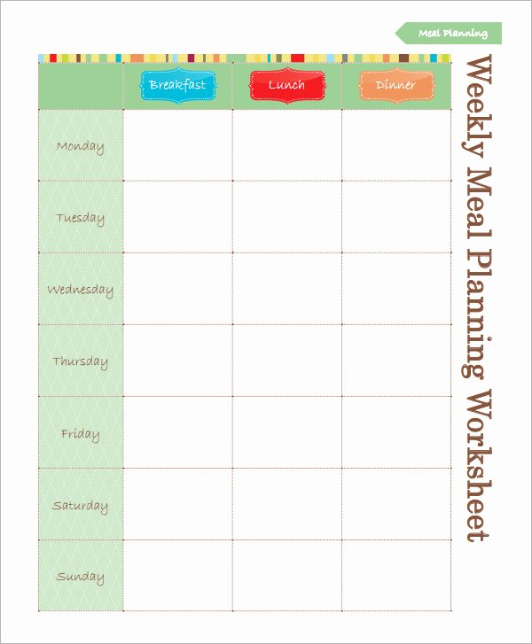 Meal Plan Template Excel Lovely 18 Meal Planning Templates Pdf Excel Word