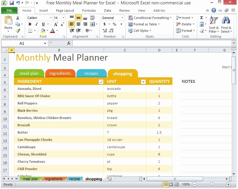 Meal Plan Template Excel Lovely Free Monthly Meal Planner for Excel