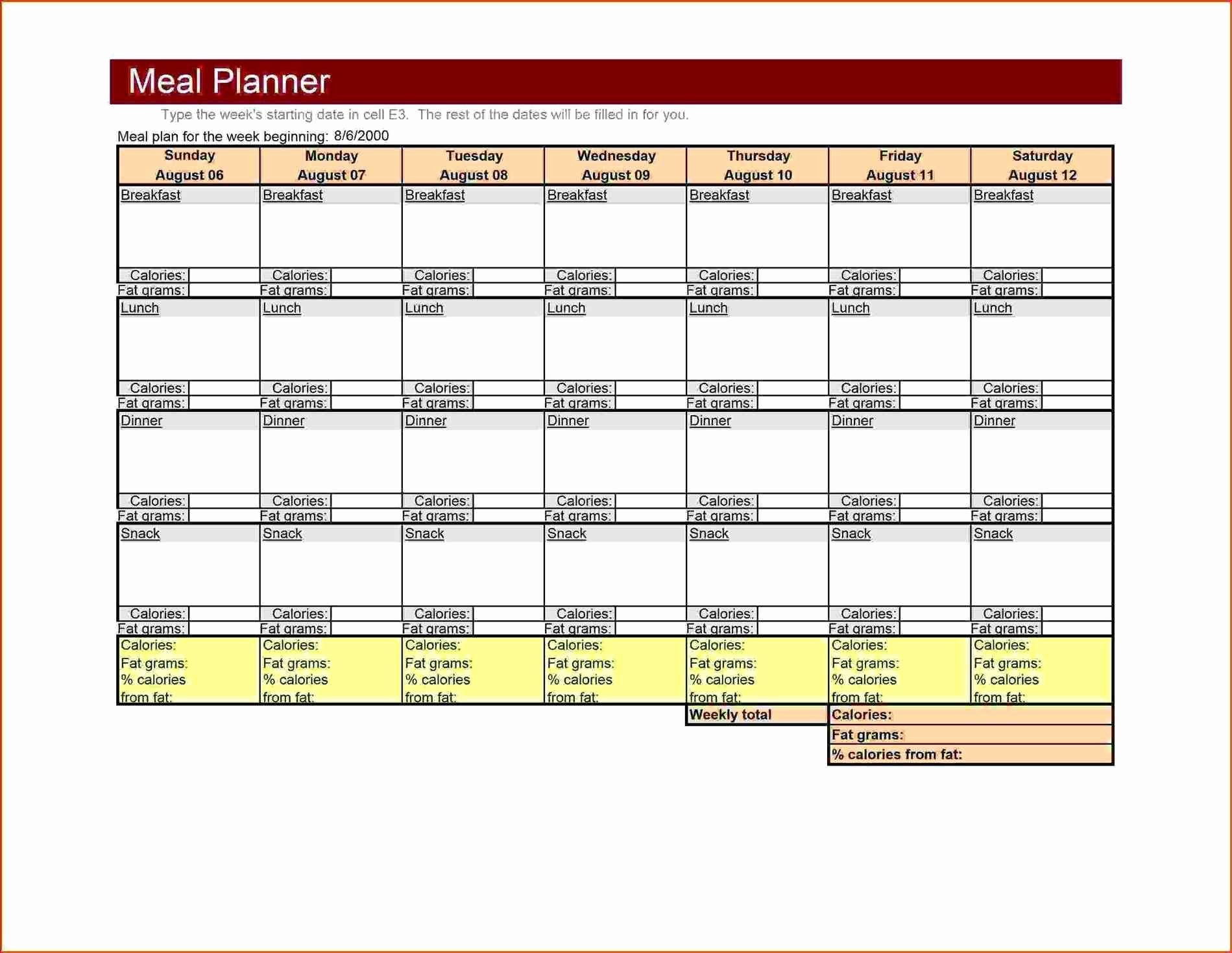 Meal Plan Template Excel New Large Weekly Menu Template Excel Meal Planner