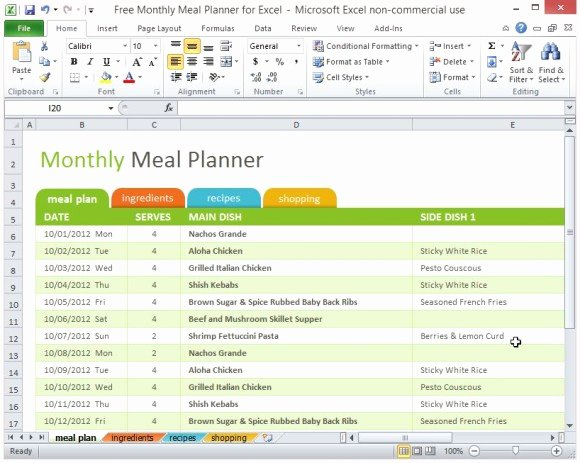 Meal Plan Template Excel Unique Free Monthly Meal Planner for Excel