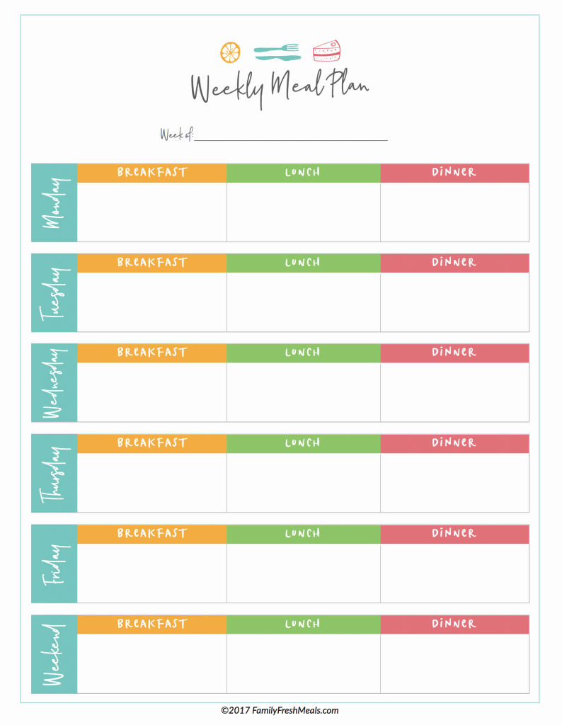 Meal Plan Template Free Best Of Free Meal Plan Printables Family Fresh Meals