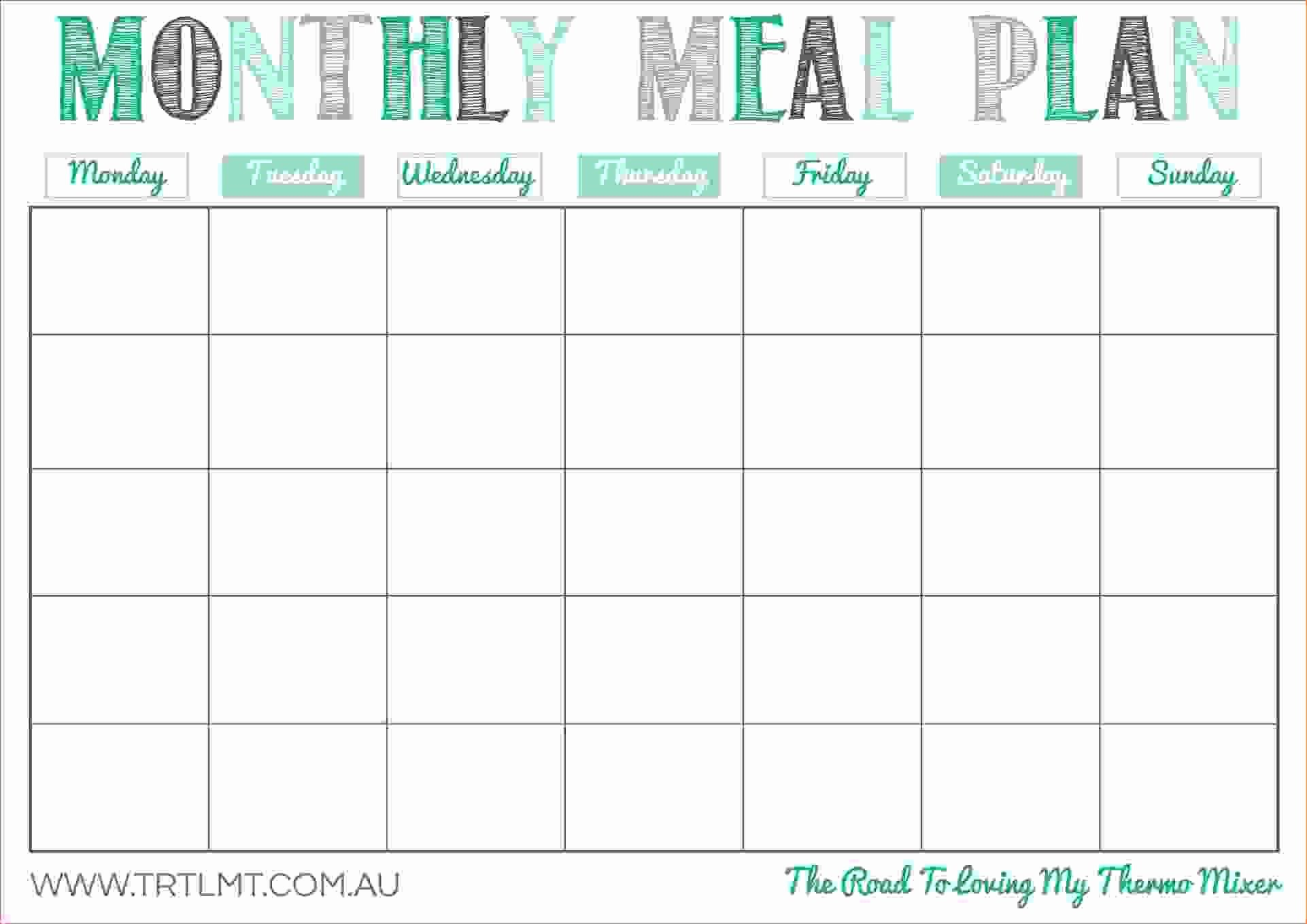 Meal Plan Template Free Best Of Free Printable Monthly Meal Planner Template