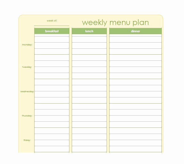Meal Plan Template Free Elegant 40 Weekly Meal Planning Templates Template Lab