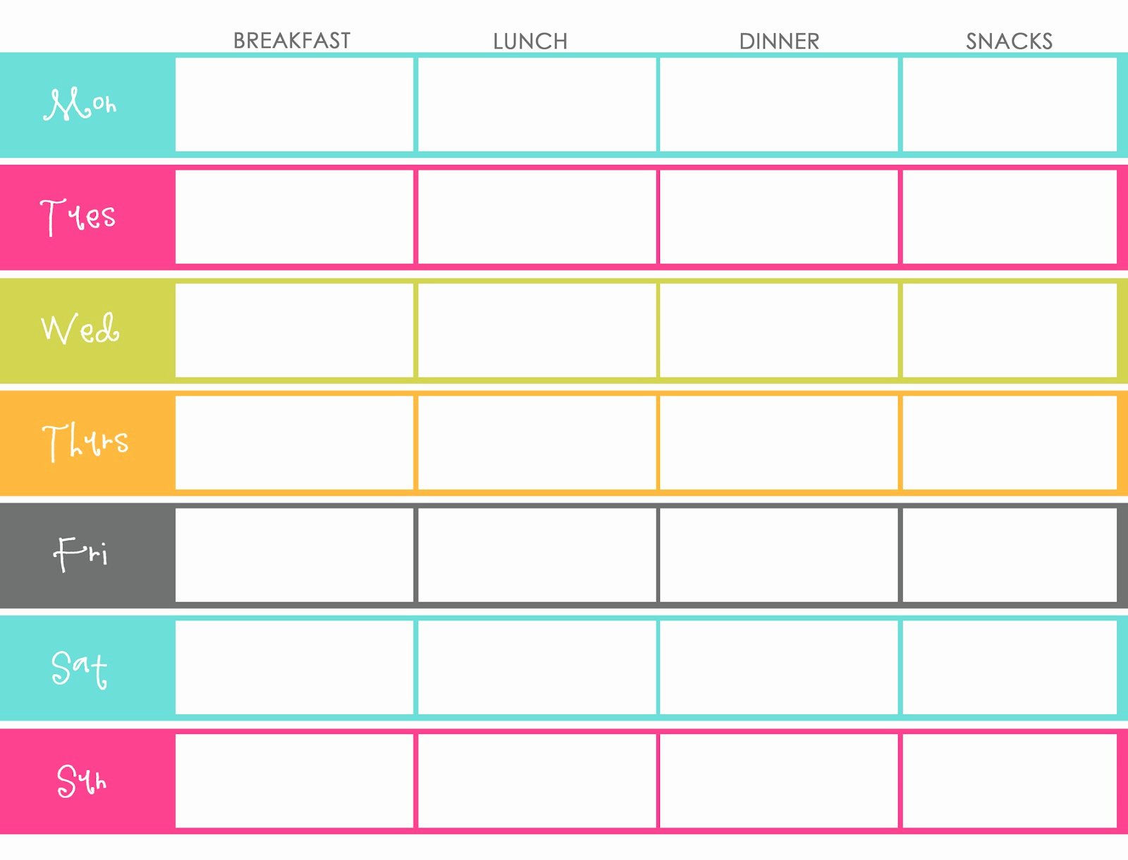 Meal Plan Template Free Elegant Little Housewife Meal Planning