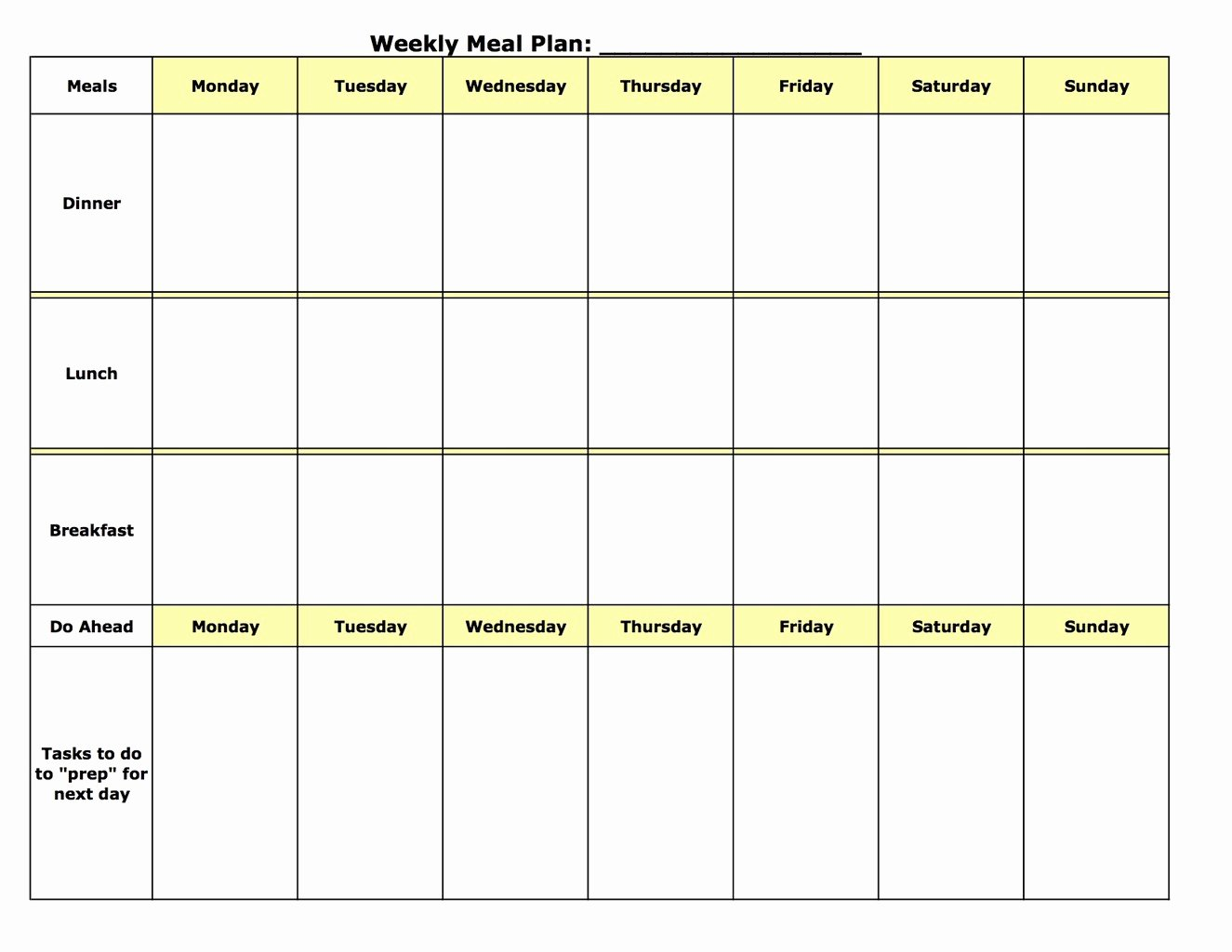 Meal Plan Template Free Fresh Meal Plan Template