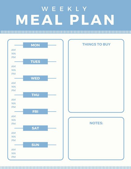 Meal Plan Template Free Inspirational Meal Planner Menu Templates Canva