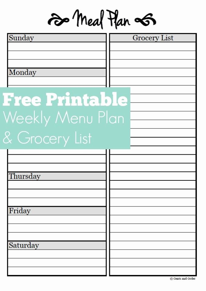 Meal Plan Template Free Inspirational Meal Planning Free Weekly Meal Planner Printable