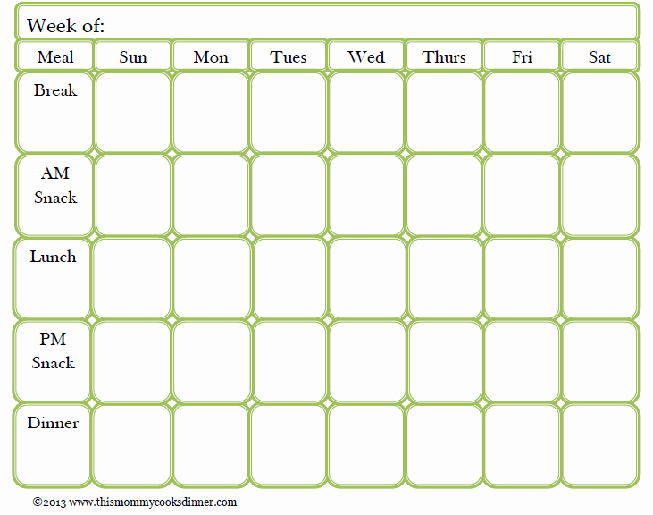 Meal Plan Template Free Inspirational Meal Planning Made Easy Sun Oven