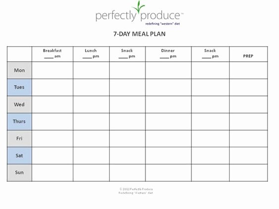Meal Plan Template Free New 7 Day Meal Planner Template