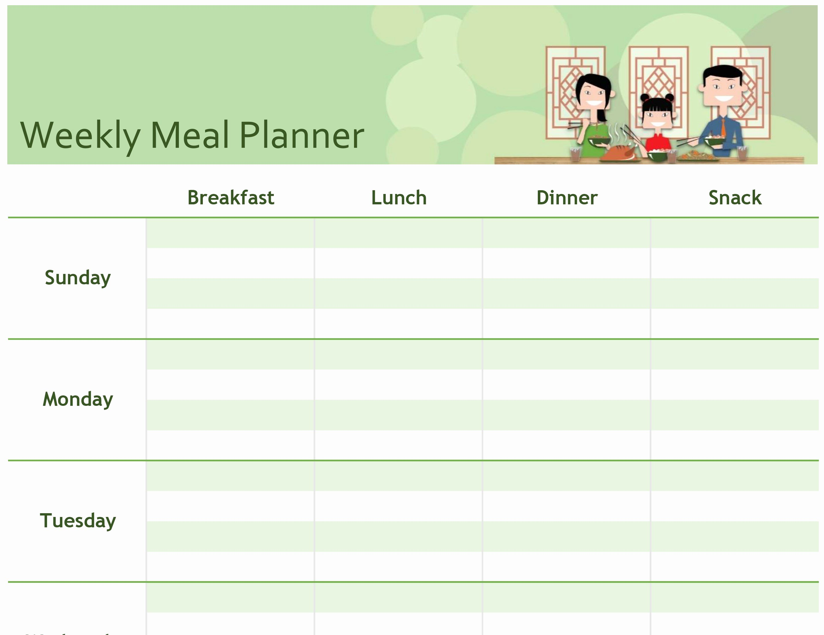 Meal Plan Template Free New Excel