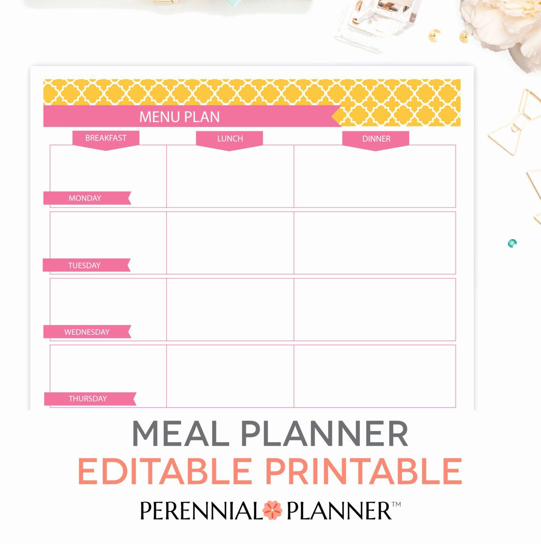 menu plan weekly meal planning template