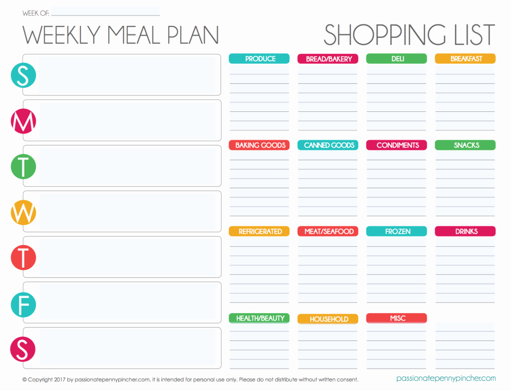 Meal Plan Template Free Unique Free Editable Menu Plan and Grocery List