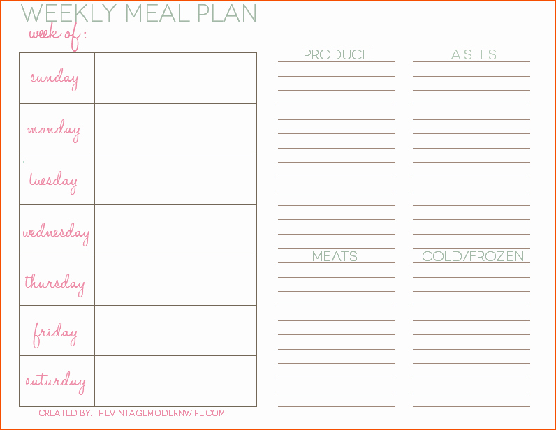Meal Plan Template Word Beautiful 8 Weekly Meal Planner Template Bookletemplate