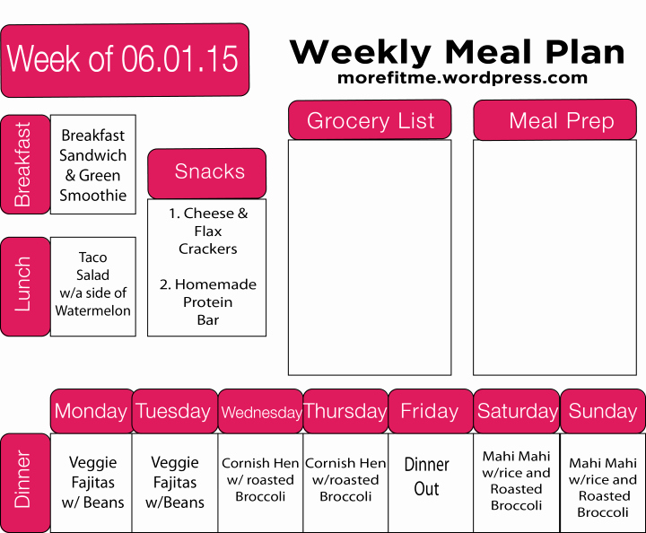 Meal Plan Template Word Beautiful Meal Prep 3