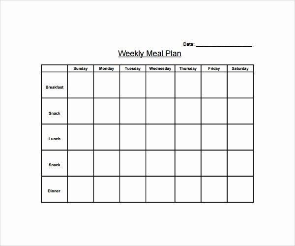 Meal Plan Template Word Best Of Sample Weekly Meal Plan Template 9 Free Documents In