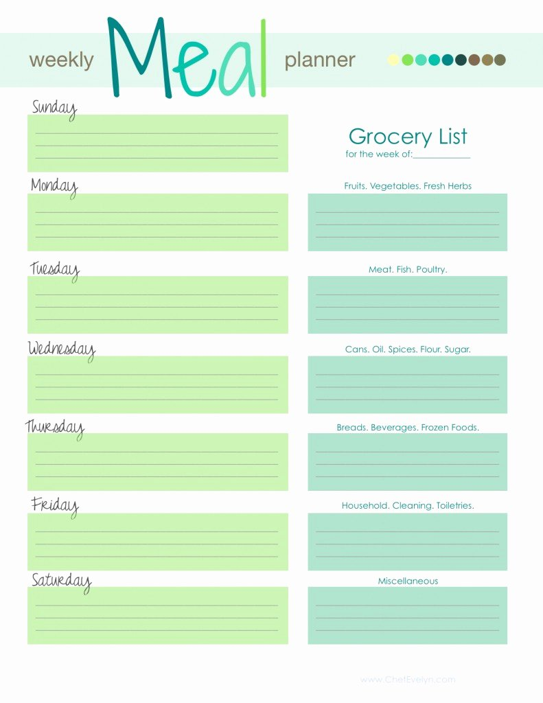 Meal Plan Template Word Fresh Weekly Meal Planner Template