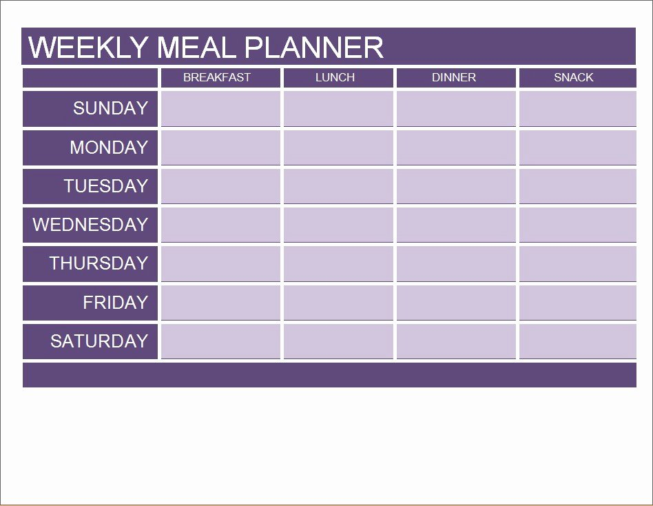 Meal Plan Template Word Lovely Meal Planner Calendar