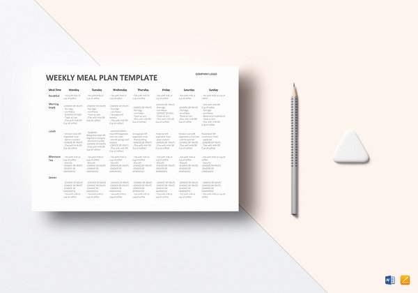 Meal Plan Template Word Lovely Weekly Meal Planner Template 9 Free Pdf Word Documents