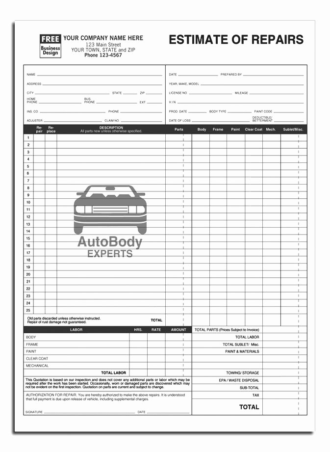 Mechanic Work order Template Awesome Anchorside Carbonless form Templates
