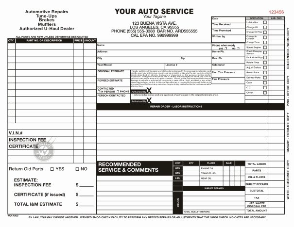 Mechanic Work order Template Awesome Automotive Work order Template