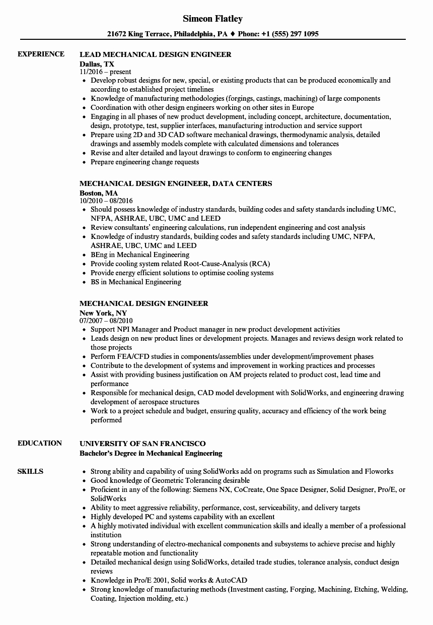 Mechanical Engineer Resume Template Awesome Mechanical Design Engineer Resume Talktomartyb