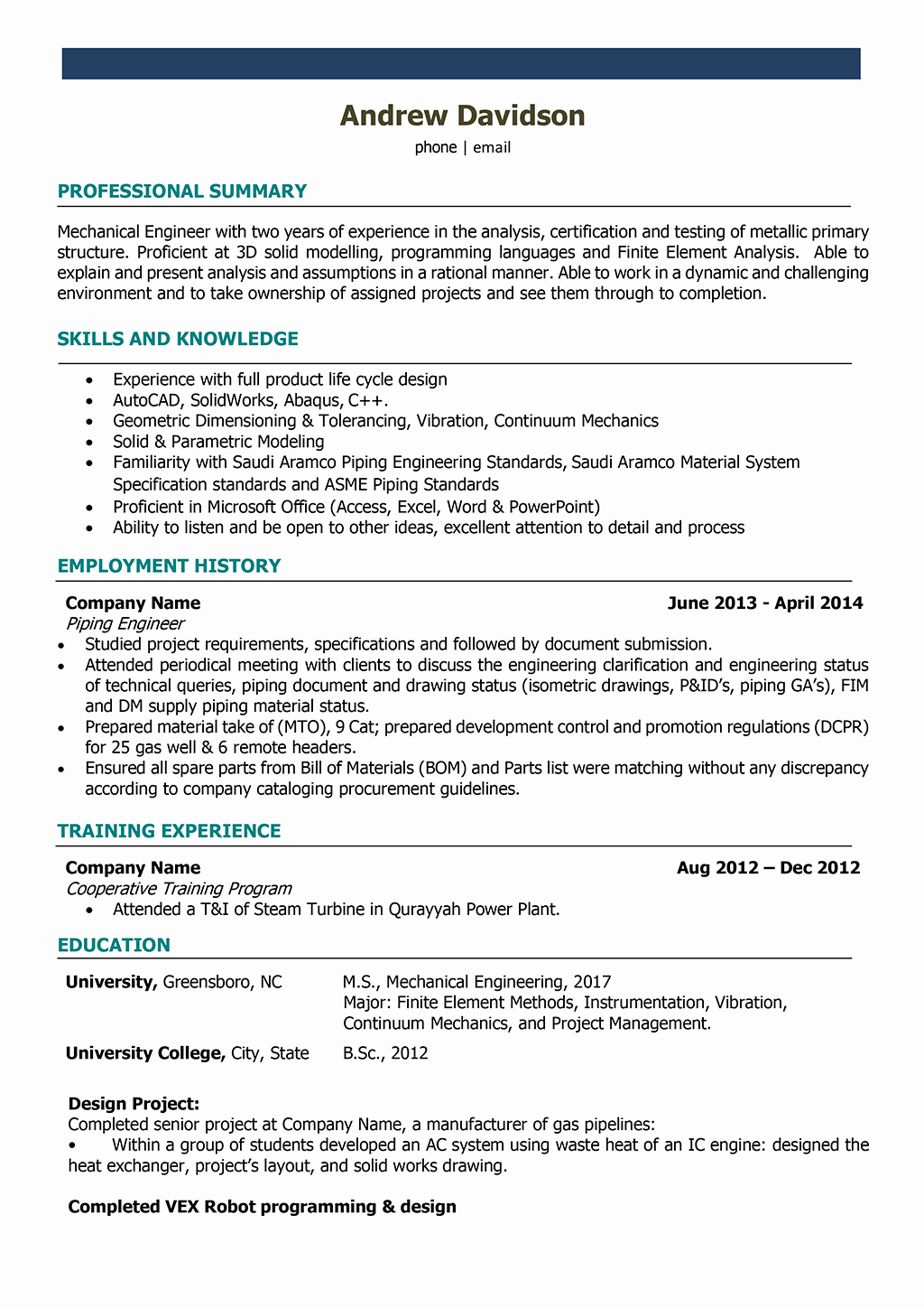 Mechanical Engineer Resume Template Beautiful Mechanical Engineer Resume Samples and Writing Guide [10