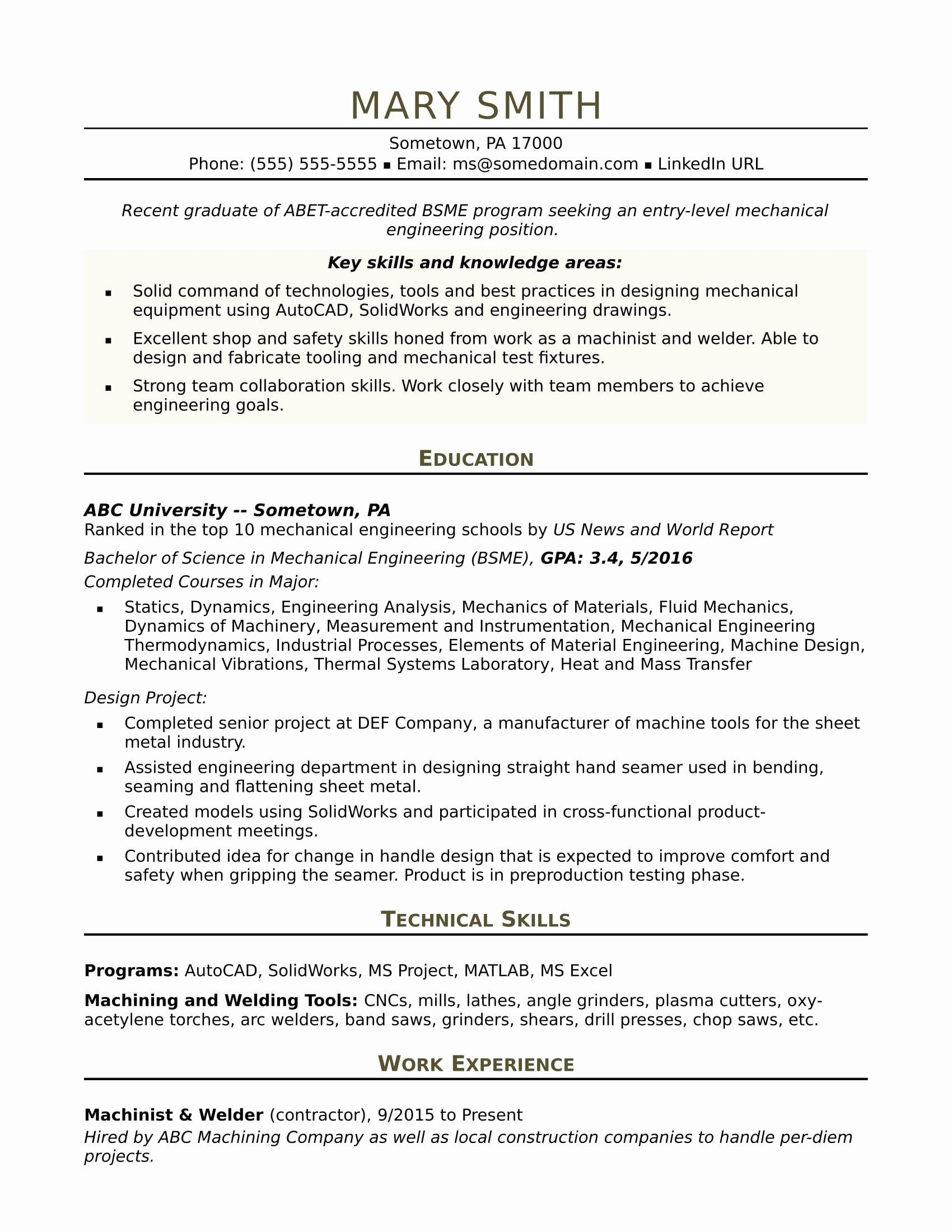 Mechanical Engineer Resume Template Best Of Sample Resume for An Entry Level Mechanical Engineer