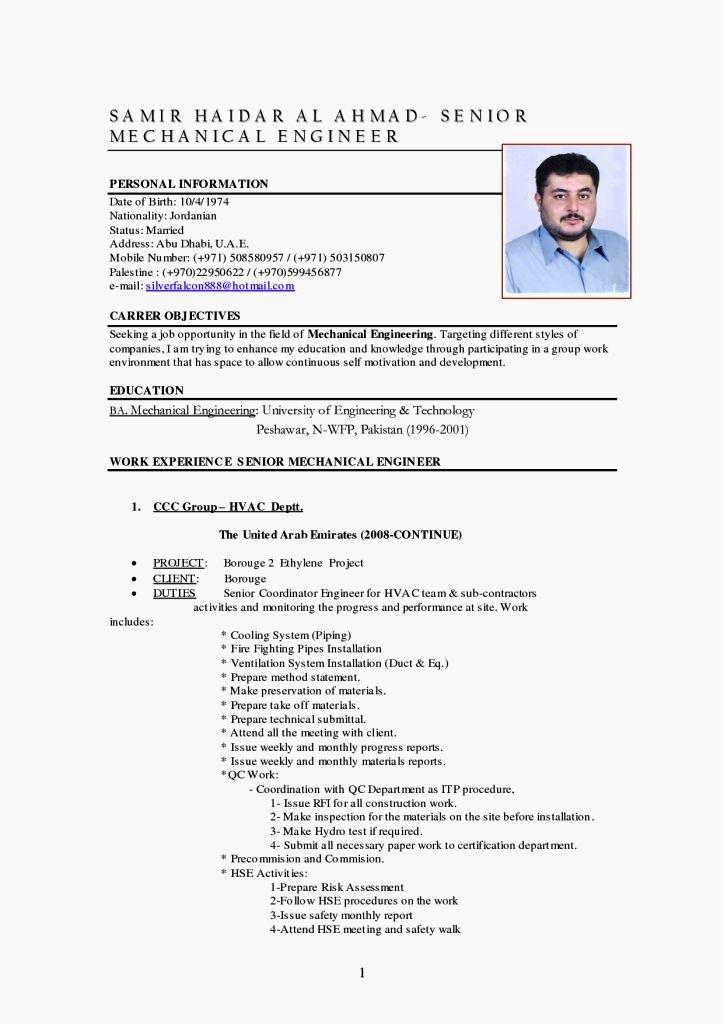 Mechanical Engineer Resume Template Elegant Mechanical Engineer Cv Template Resume Template