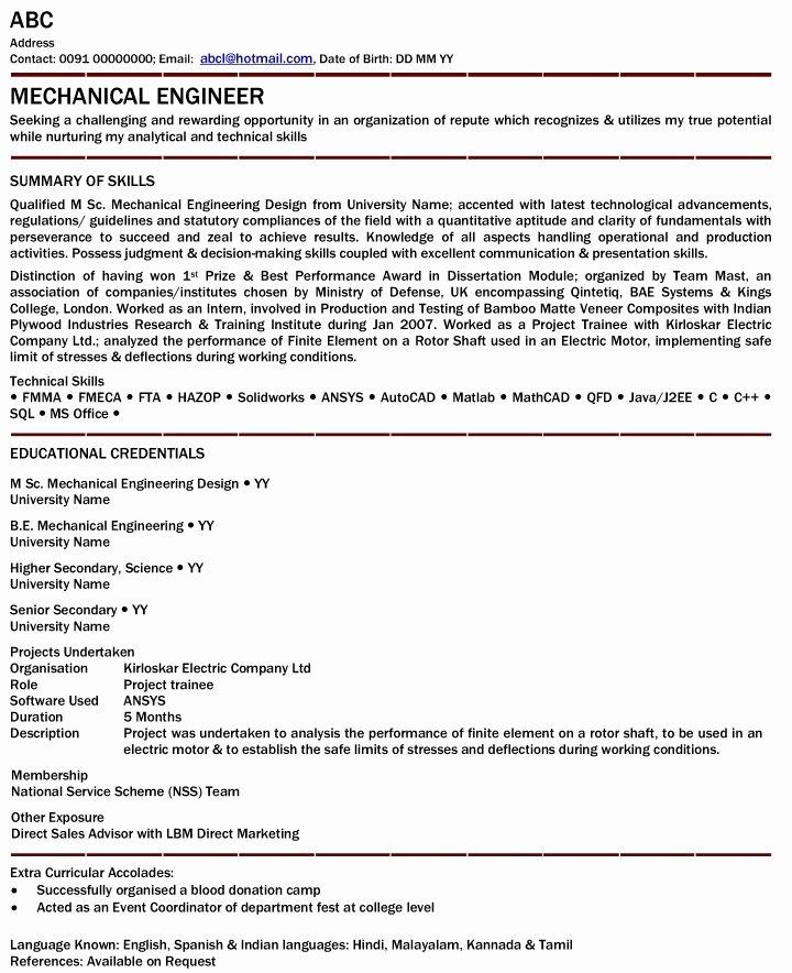 Mechanical Engineer Resume Template Fresh Mechanical Engineer Resume for Fresher Mechanical