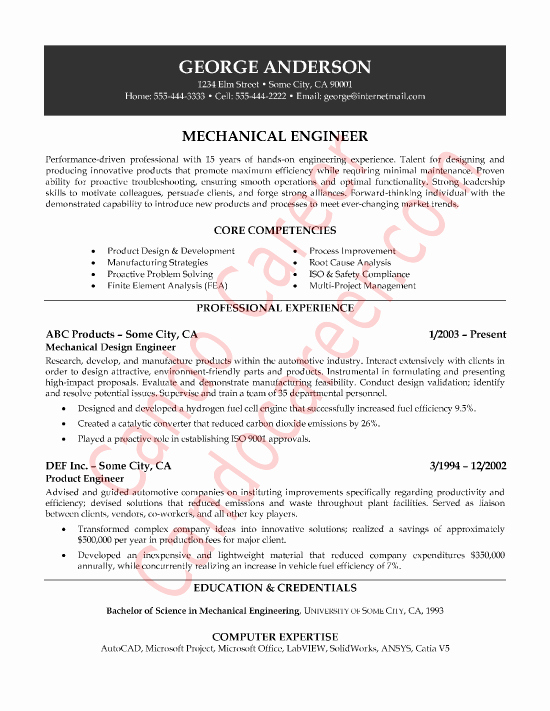 Mechanical Engineer Resume Template Inspirational Mechanical Engineer Sample Resume by Cando Career Coaching