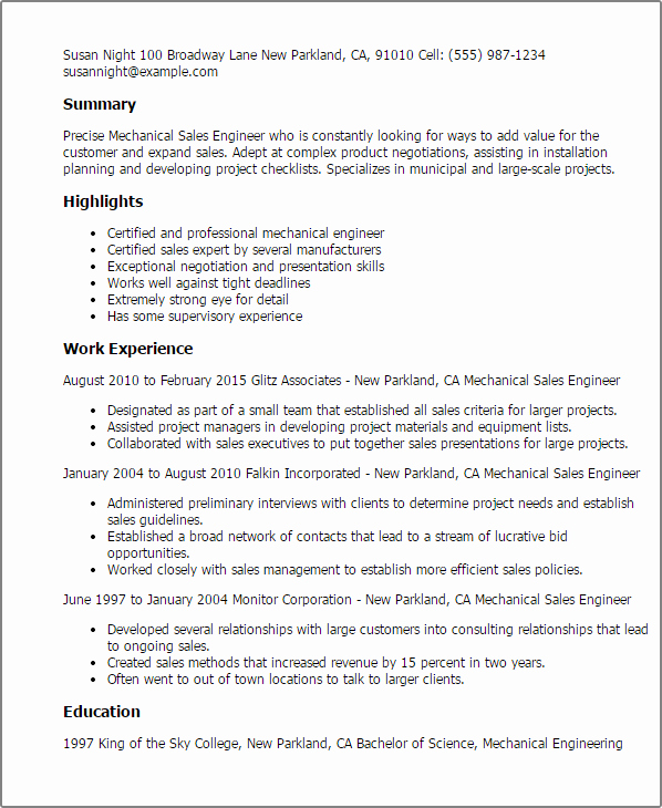 Mechanical Engineer Resume Template Lovely Professional Mechanical Sales Engineer Templates to