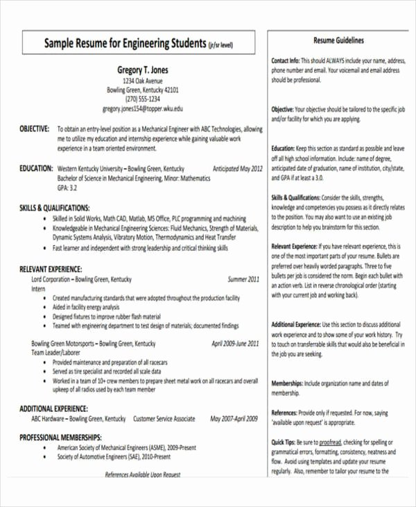 Mechanical Engineer Resume Template New 31 Professional Engineering Resume Templates Pdf Doc