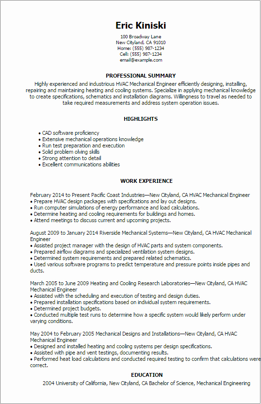 Mechanical Engineer Resume Template Unique Professional Hvac Mechanical Engineer Templates to