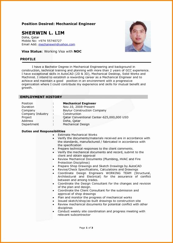 Mechanical Engineering Resume Template Beautiful Chemical Engineering Resume