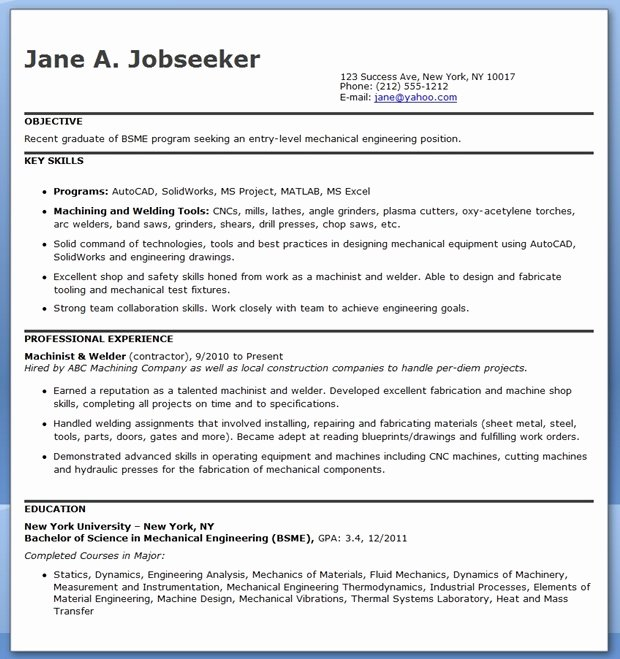 Mechanical Engineering Resume Template Elegant Mechanical Engineering Resume Template Entry Level