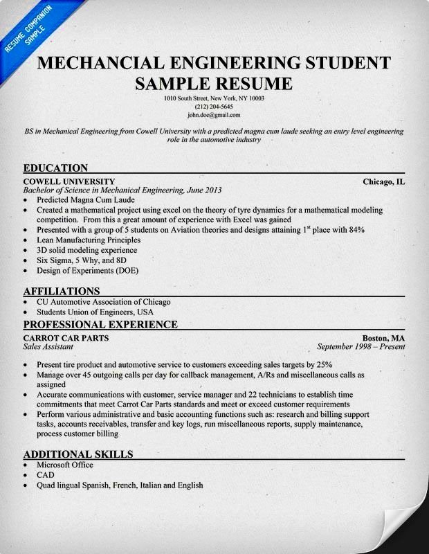 Mechanical Engineering Resume Template Inspirational Mechanical Engineer Cv Example Resume Template