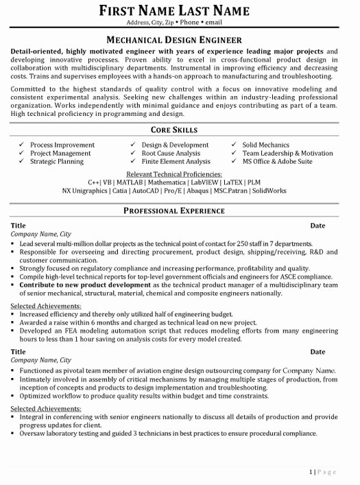 Mechanical Engineering Resume Template Lovely top Aerospace Resume Templates & Samples