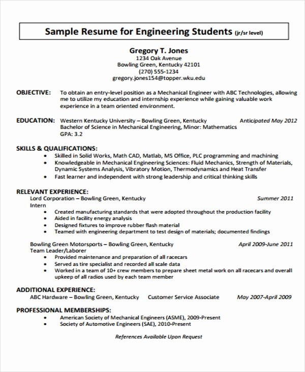 Mechanical Engineering Resume Template New 20 Engineering Resume Templates In Pdf