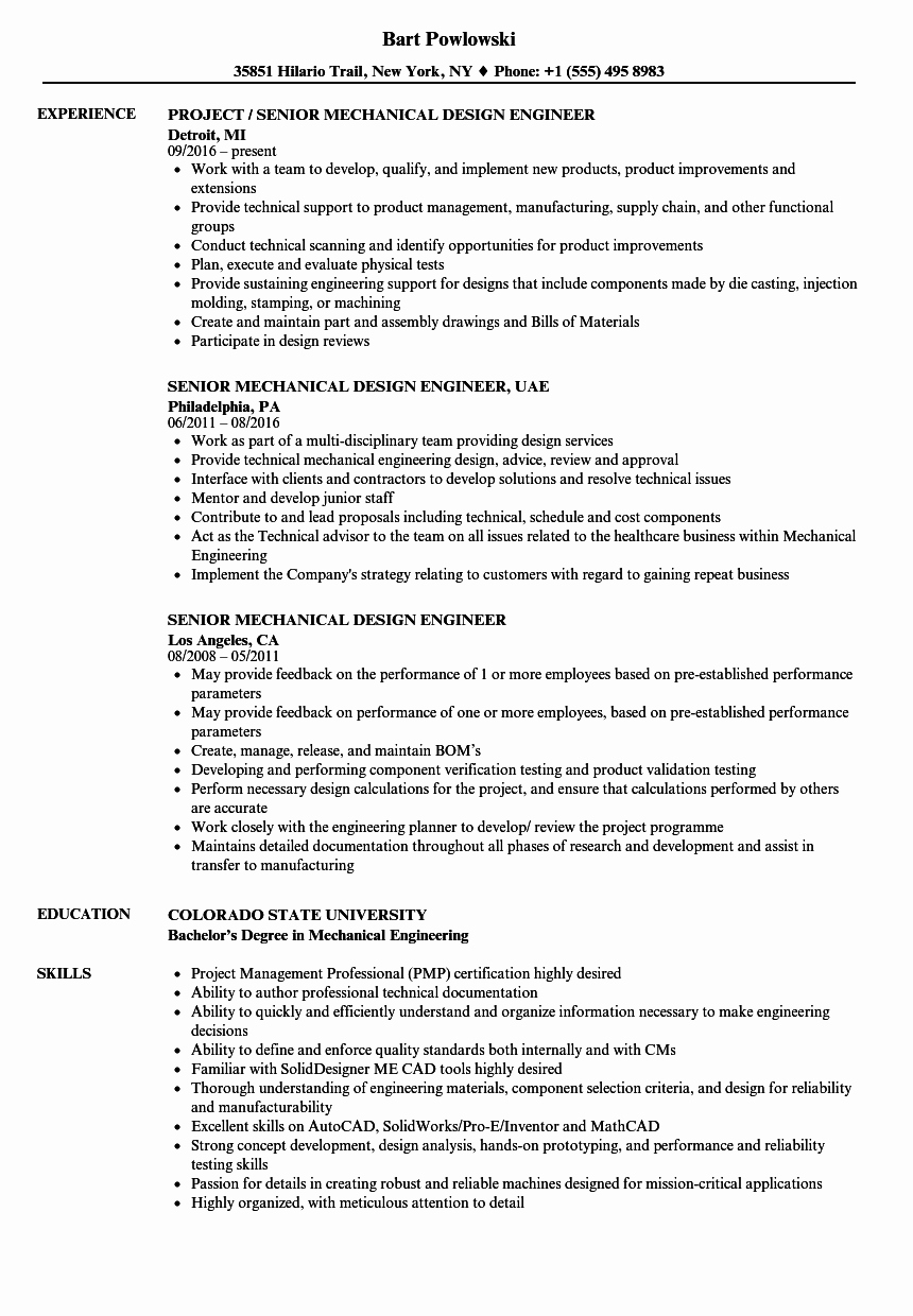 Mechanical Engineering Resume Template New Mechanical Design Engineer Resume Talktomartyb