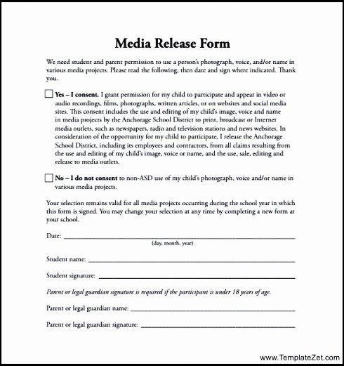 Media Release form Template Elegant Media Release form Template for Students Alfonsovacca